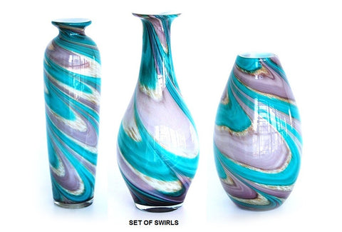 TG-HB-Swirl of Purple and Blue Hues Glass Vase Set - Blue Dreams USA Boutique
