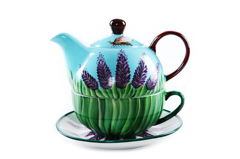 BDT-TTM - Tea Set for One - Green Lavender Bumblebee - Blue Dreams USA Boutique