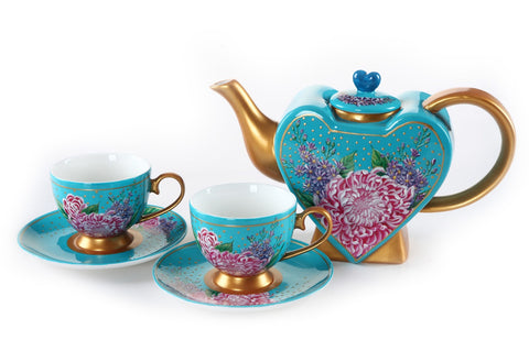 BDT-TTM - Tea Set for Two - Hearty Chrysanthemum with Lavender - Blue Dreams USA Boutique