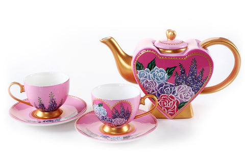 BDT-TTM - Tea Set for Two - Hearty Rose with Lavender - Blue Dreams USA Boutique