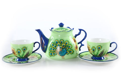 BDT-TTM - Tea Set for Two - Peacock Blue Gold - Blue Dreams USA Boutique