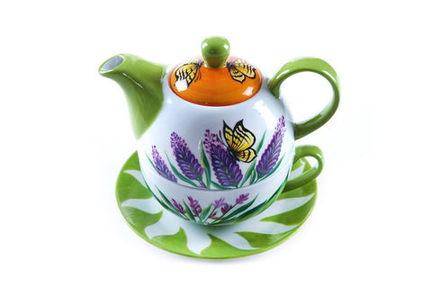 BDT-TTM - Tea Set For One - Yellow Butterfly Lavender Lover - Blue Dreams USA Boutique