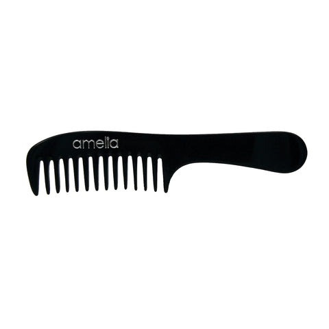 8in Cellulose Acetate Handle Comb - Black Color