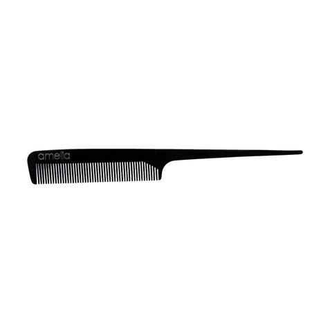 8in Cellulose Acetate Rat Tail Comb - Black Color