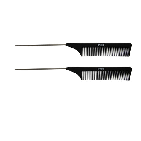 8.375in Plastic Fine Tooth Pintail Comb (2 Pack)