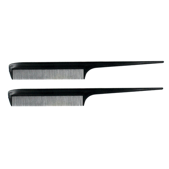 8.5in Plastic Fine Tooth Rattail Comb (2 Pack)
