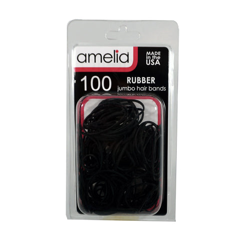 100, Black, Jumbo, Rubber Bands for Pony Tails and Braids