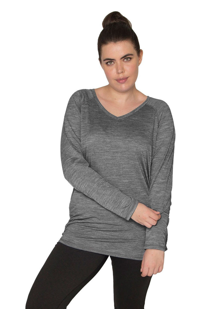Stratus Plus Space Dye Long Sleeve V-Neck Tee With Side Ruching