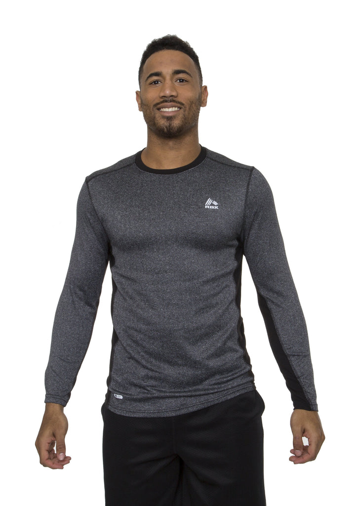 Men's Jacquard Herringbone Long Sleeve Thermal Shirt Charcoal