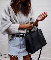 denim skirt and sweater