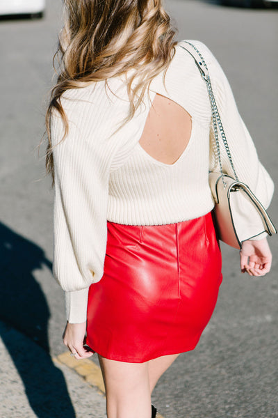 Cupid's Arrow Faux Leather Skirt