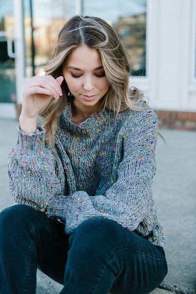 Confetti Frayed Sweater