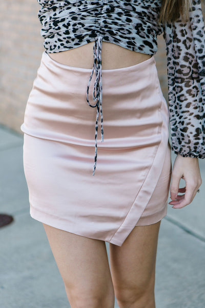 Sip of Champagne Satin Skirt