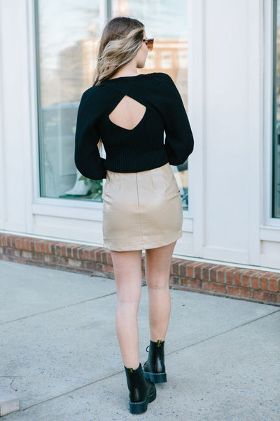 The Bomb Faux Leather Croc Skirt
