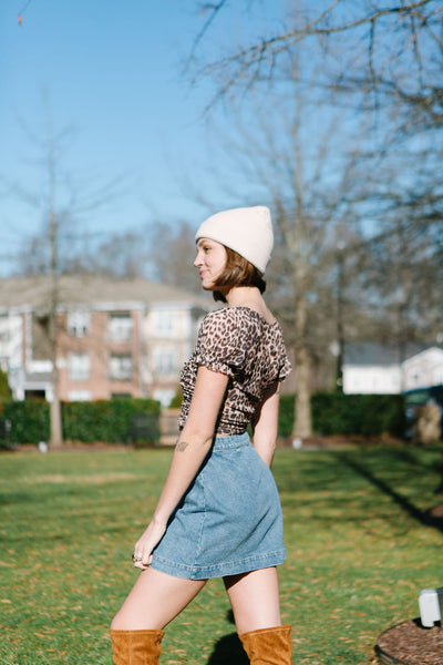 Button Babe Denim Skirt