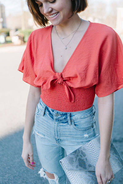 Strawberry Wine Smocked Top