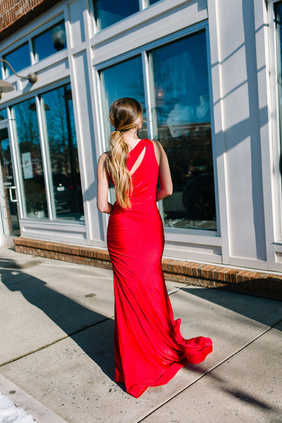 Red Siren One Shoulder Gown