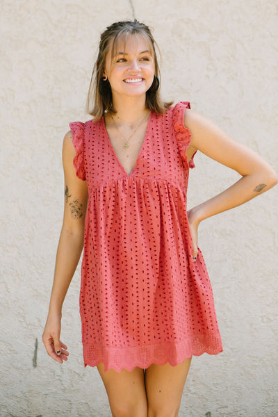 Terracotta Eyelet Babydoll Dress