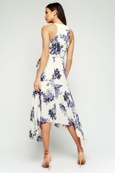 Blueberry Floral Wrap Dress