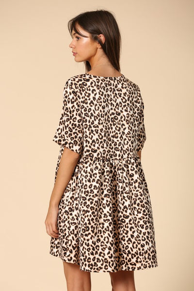 Crazy Too Satin Babydoll Leopard Dress