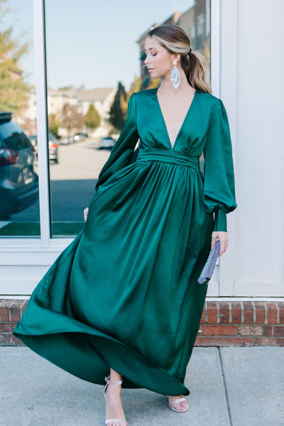 Head Turner Satin Maxi Dress