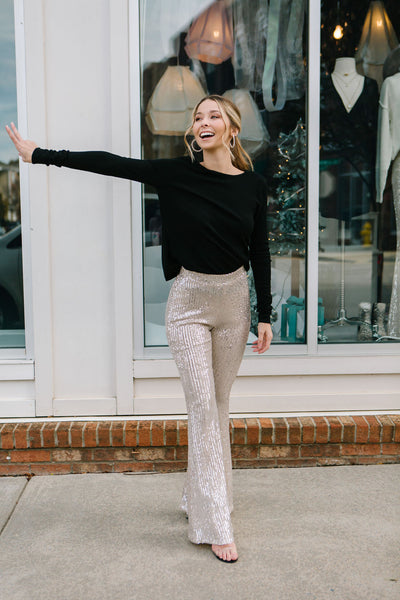 Disco Ball Sequin Flare Pants