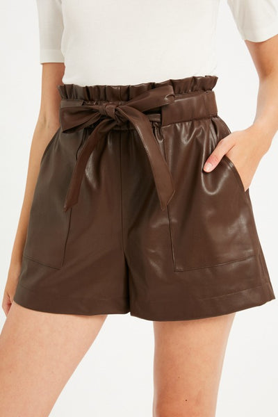 Paperbag Leather Shorts