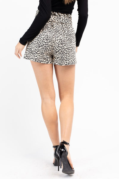 Lia Leopard Paperbag Shorts