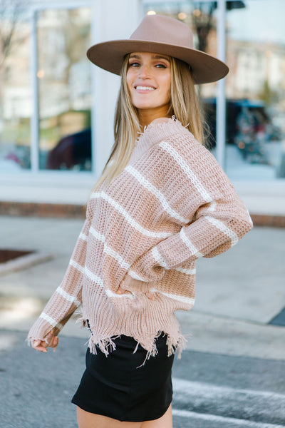 True Colors Stripe Distress Sweater