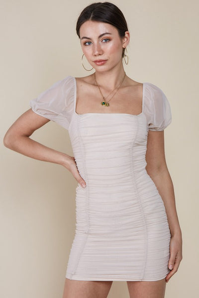 Cream Ruched Mesh Dress