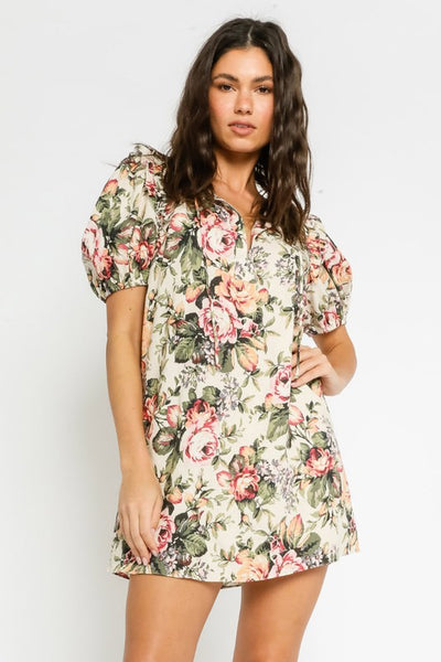 Vintage Rose Puff Sleeve Dress
