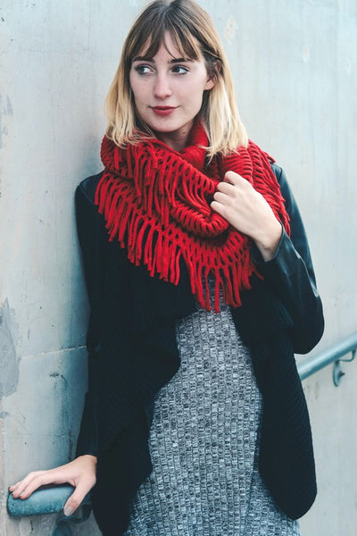 Carrie Chenille Fringe Infinity Scarf