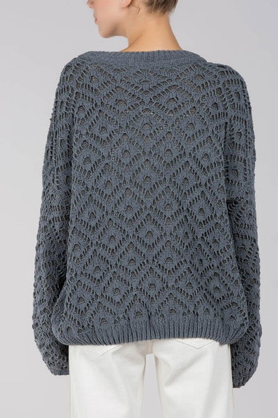 Lulu Laced Balloon Sleeve Sweater