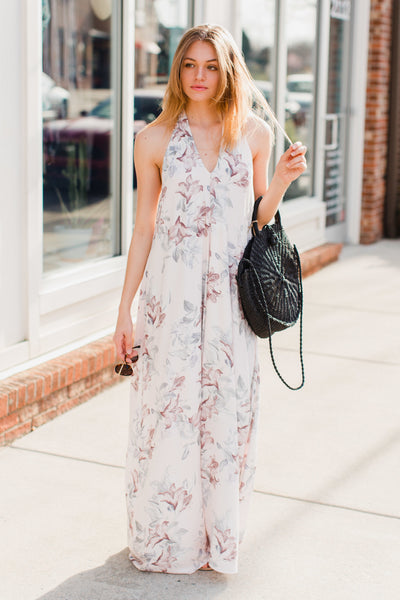 Muted Florals Halter Maxi Dress - Swoon Boutique