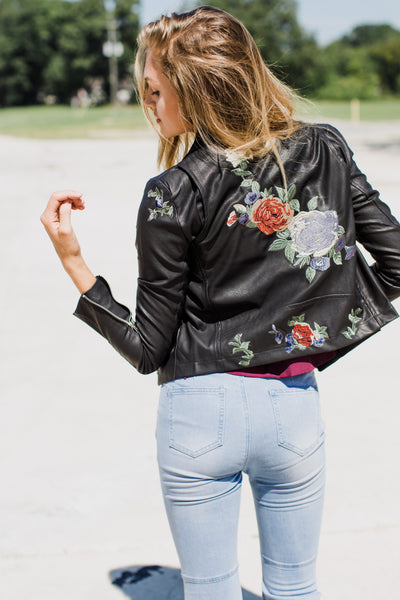 Patchwork Floral Leather Jacket
