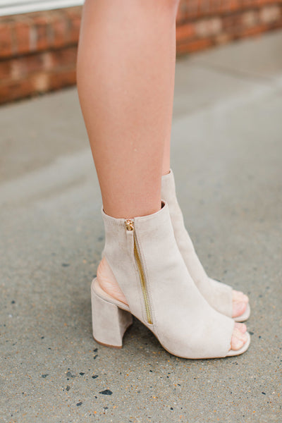 Oatmilk Open Toe Booties