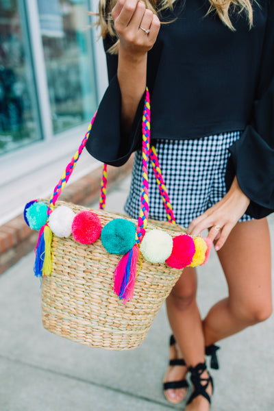 Beachy Pom Pom Basket Bag