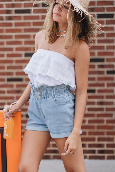 So Cool Strapless Ruffle Top