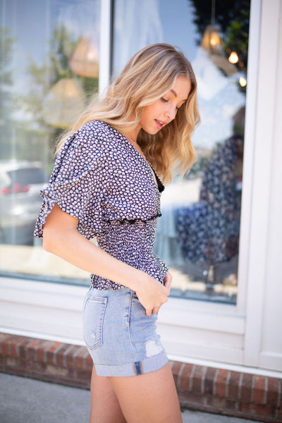 Ditsy Floral Smocked Top