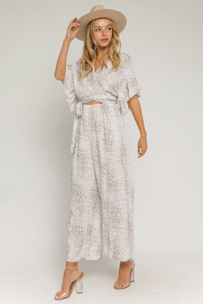 Hidden Snakeskin Cutout Jumpsuit