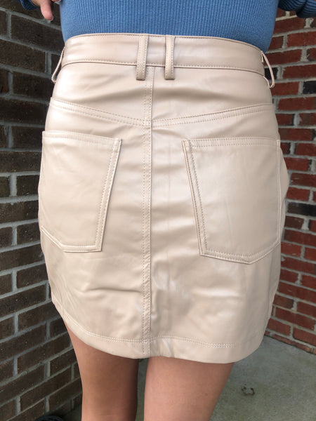 Nutmeg Faux Leather Skirt