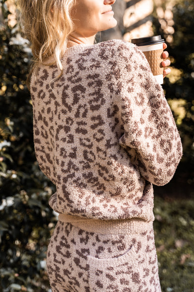 Taupe Cheetah Lounge Sweater