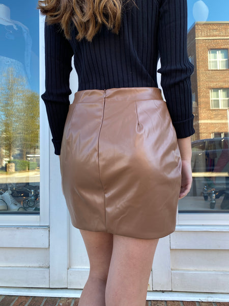Last To Leave Faux Leather Skirt