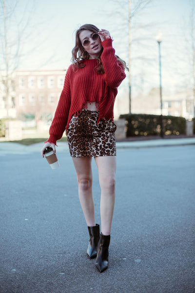 Give It To Me Leopard Skirt