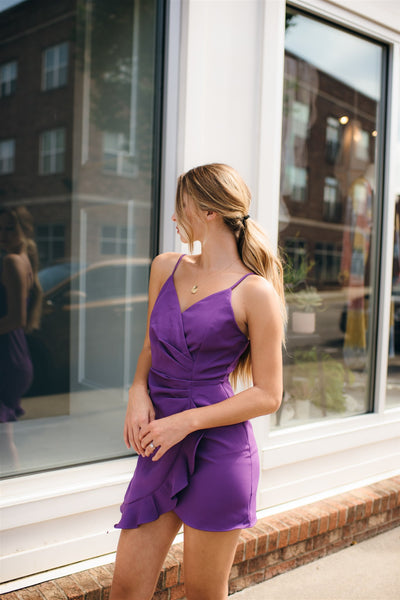 Grape Juice Ruched Dress