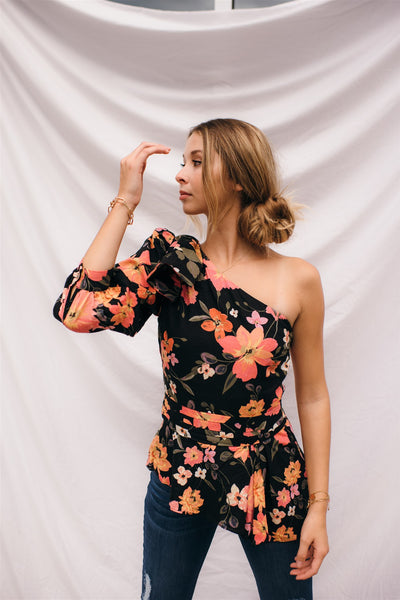 Hibiscus Floral One Shoulder Top
