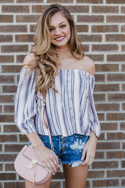 Saturday Stripe Off The Shoulder Top