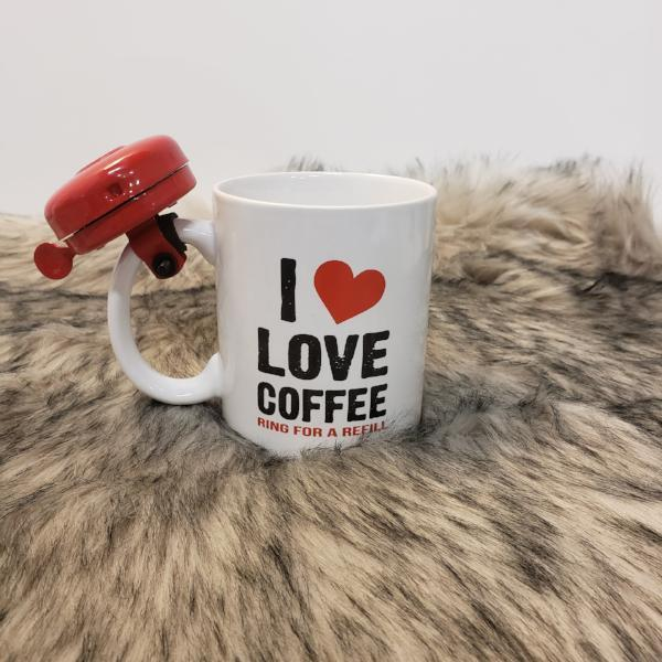 """I Love Coffee"" Mug With Bell"