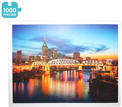 """NASHVILLE CITY BRIDGE NIGHT VIEW"" - 1000 Pieces Jigsaw Puzzle"