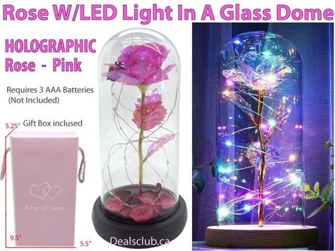 Beauty & The Beast Rose With LED Light In A Glass Dome